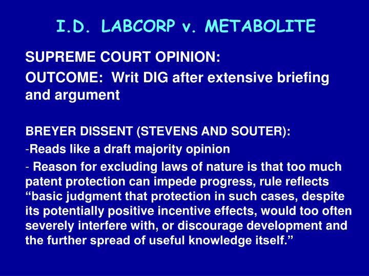 I.D.LABCORP v. METABOLITE