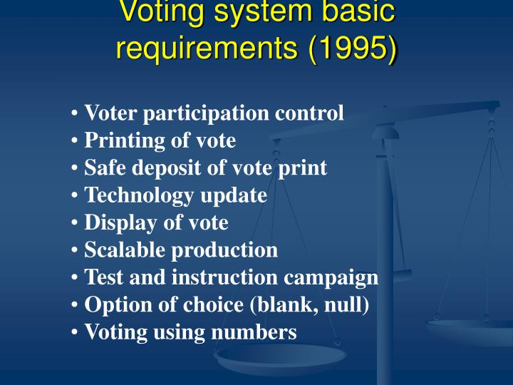 Voting system basic requirements (1995)