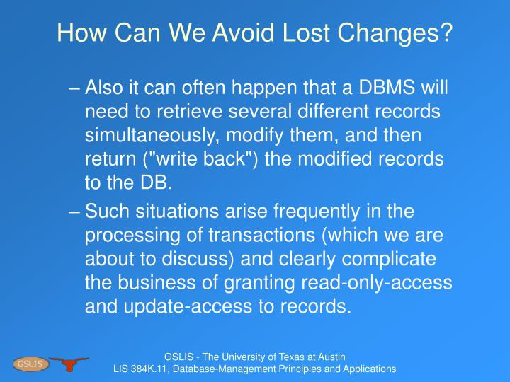 How Can We Avoid Lost Changes?