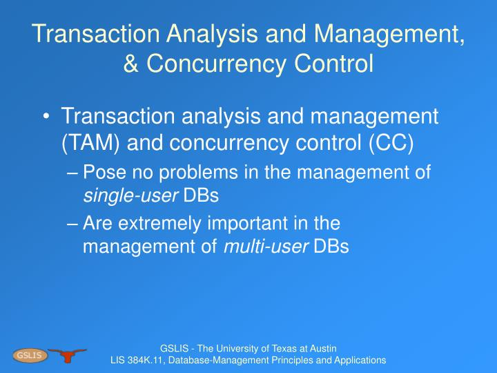 Transaction analysis and management concurrency control