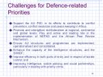 challenges for defence related priorities