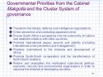governmental priorities from the cabinet makgotla and the cluster system of governance