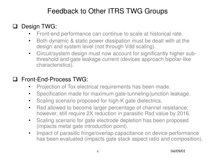 Feedback to Other ITRS TWG Groups