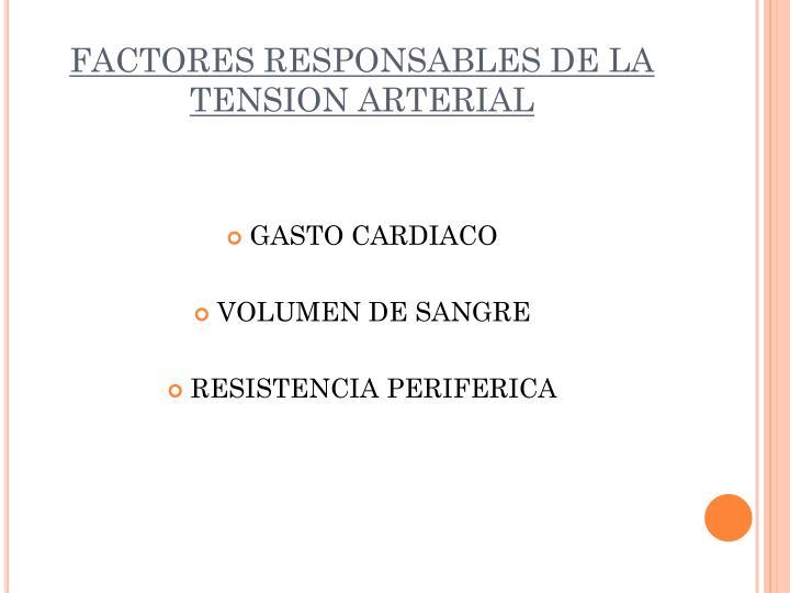 FACTORES RESPONSABLES DE LA TENSION ARTERIAL