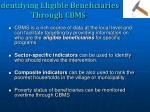 identifying eligible beneficiaries through cbms