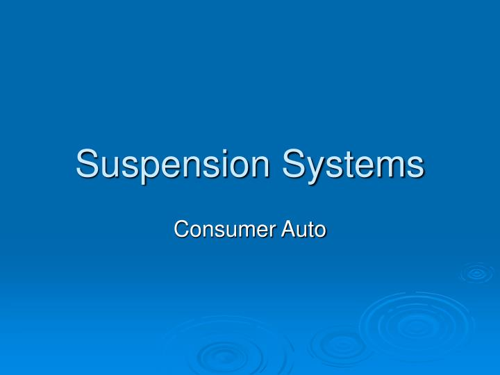 suspension systems n.