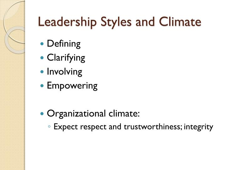 Leadership Styles and Climate