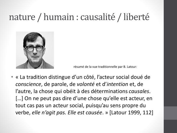Nature humain causalit libert