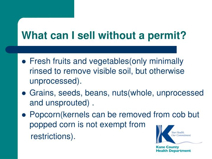 What can I sell without a permit?