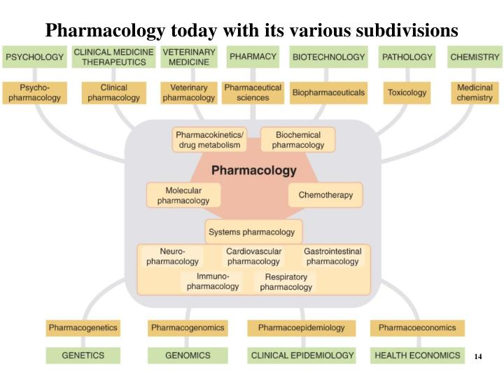 Pharmacology today with its various subdivisions