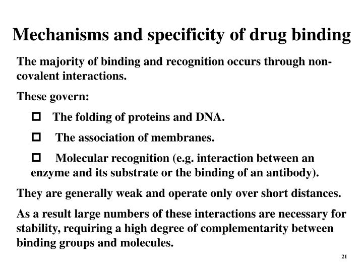 Mechanisms and specificity of drug binding