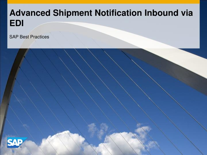 Advanced shipment notification inbound via edi