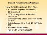 student administration milestones1