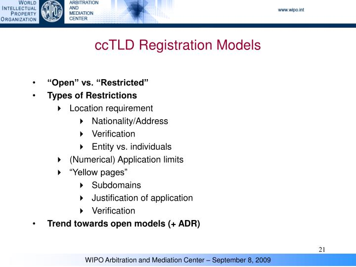ccTLD Registration Models