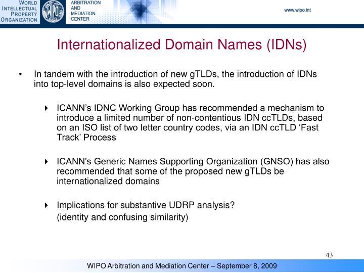 Internationalized Domain Names (IDNs)