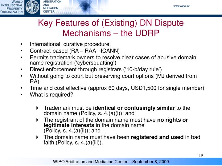 Key Features of (Existing) DN Dispute Mechanisms – the UDRP
