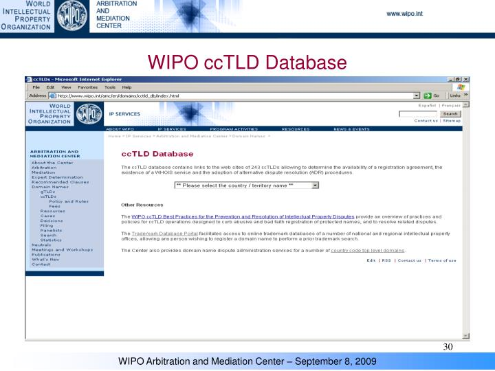 WIPO ccTLD Database