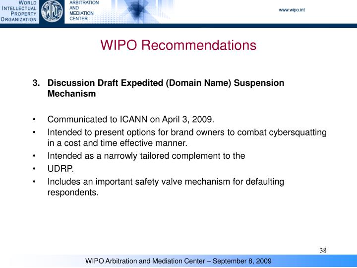 WIPO Recommendations