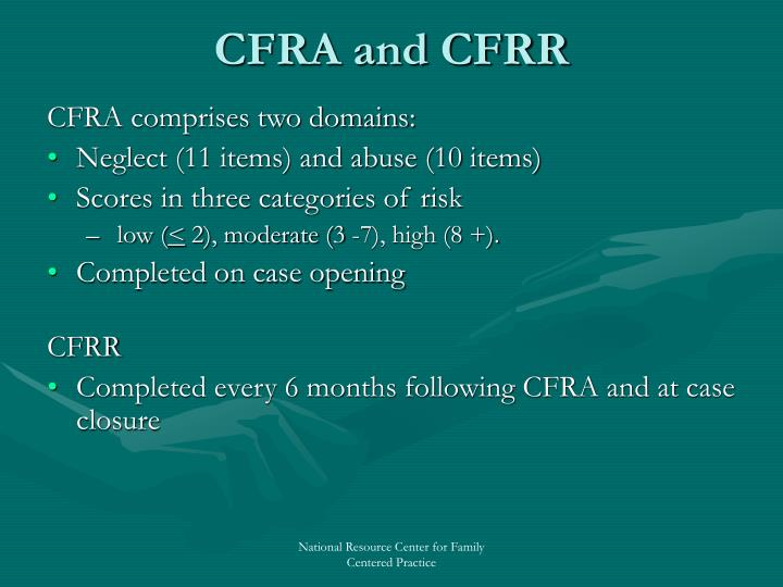 CFRA and CFRR