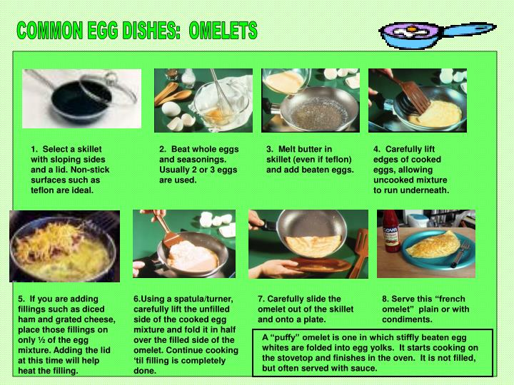 COMMON EGG DISHES:  OMELETS