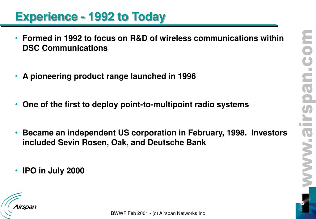 PPT - Broadband Wireless World Forum San Francisco – February 2001