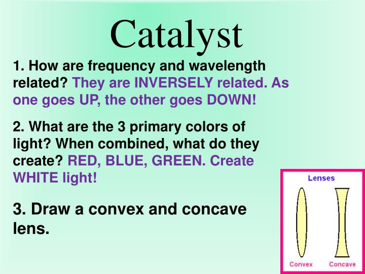 1. How are frequency and wavelength related?