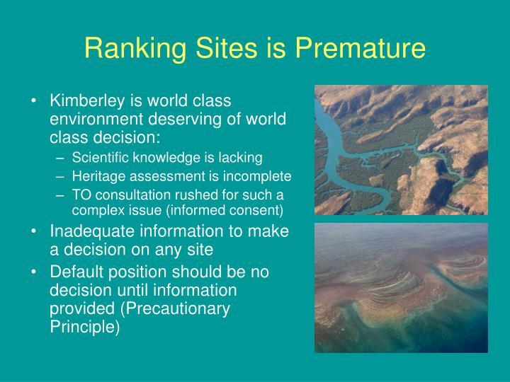 Ranking sites is premature