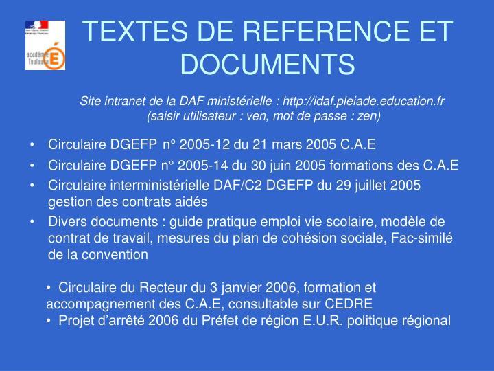 TEXTES DE REFERENCE ET DOCUMENTS
