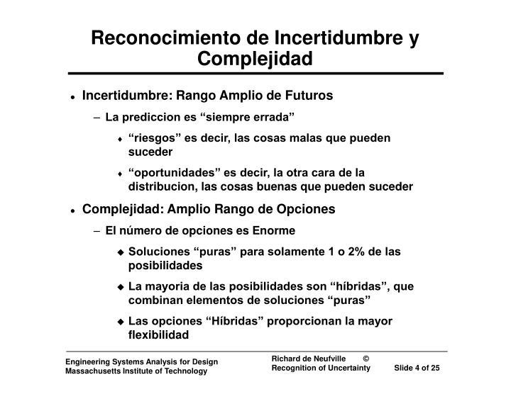 Reconocimiento de Incertidumbre y Complejidad