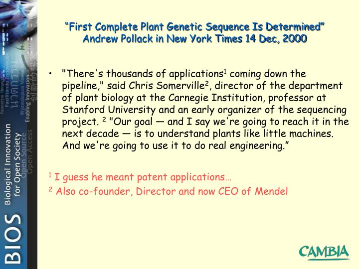 """First Complete Plant Genetic Sequence Is Determined"""