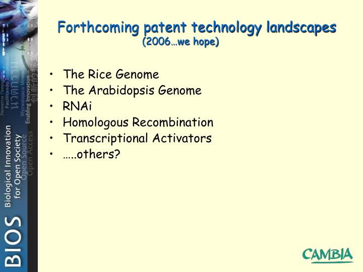 Forthcoming patent technology landscapes