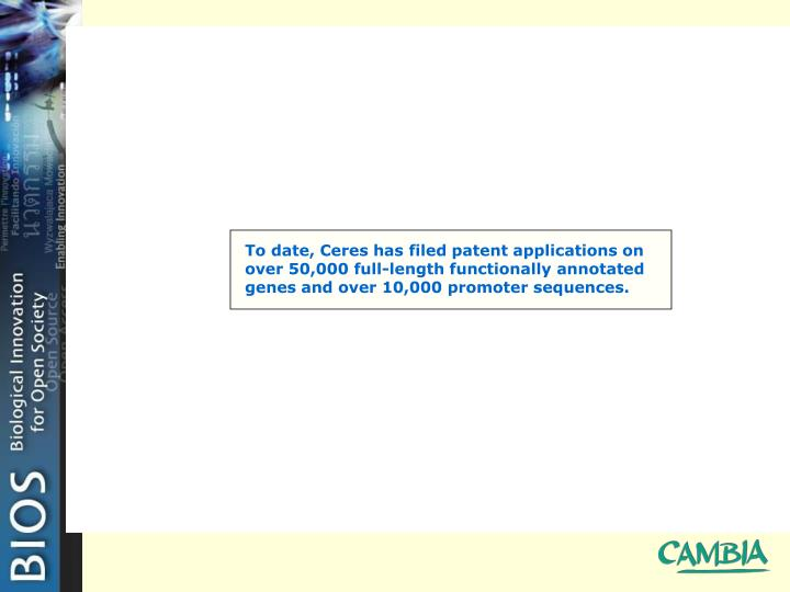To date, Ceres has filed patent applications on over 50,000 full-length functionally annotated genes and over 10,000 promoter sequences.