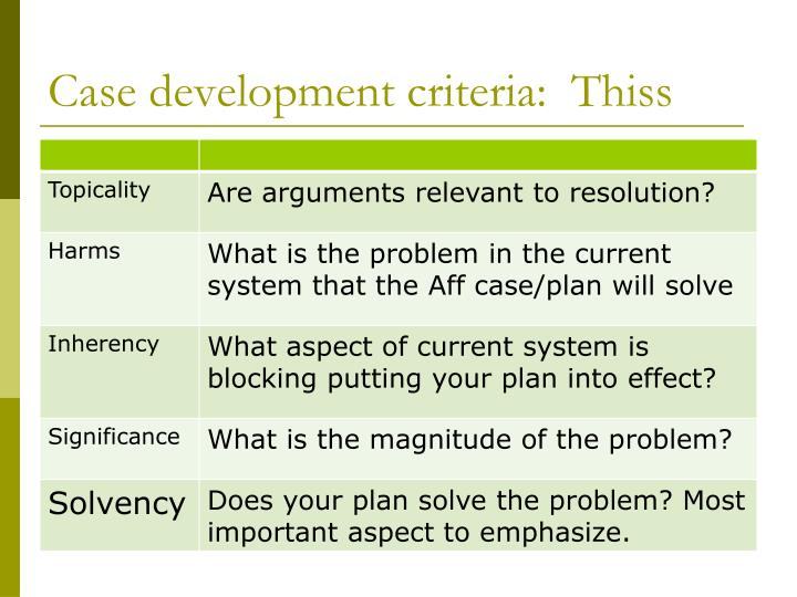 Case development criteria:  Thiss