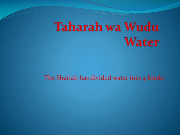 taharah wa wudu water n.