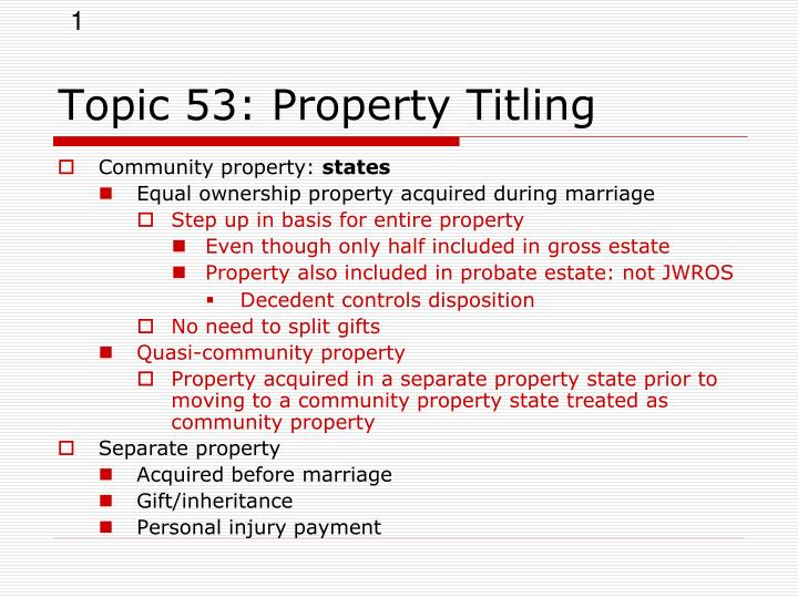 topic 53 property titling n.