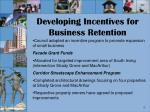 developing incentives for business retention