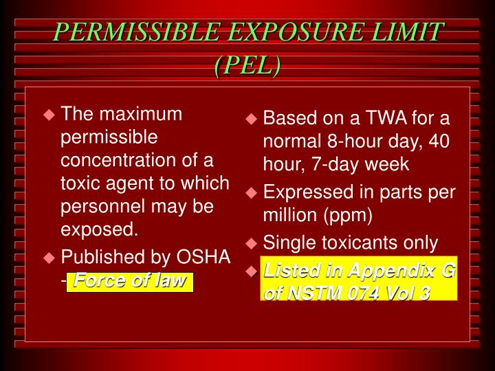 The maximum permissible concentration of a toxic agent to which personnel may be exposed.