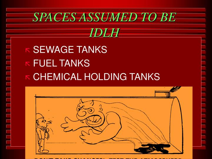 SPACES ASSUMED TO BE IDLH