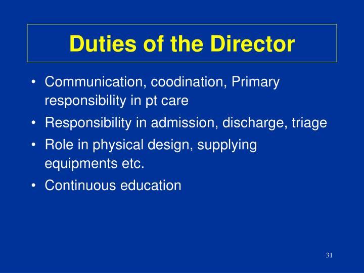 Duties of the Director