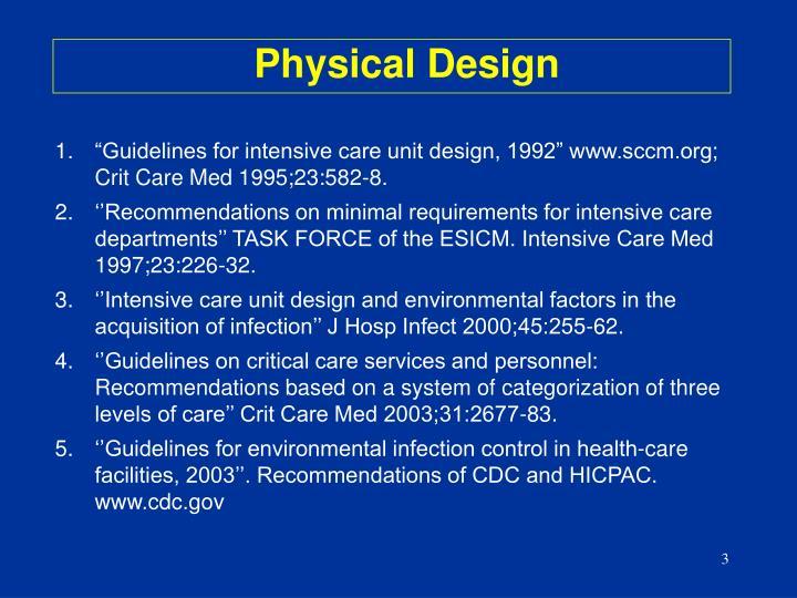 """""""Guidelines for intensive care unit design, 1992"""" www.sccm.org; Crit Care Med 1995;23:582-8."""