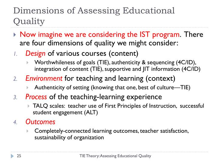 Dimensions of Assessing Educational Quality
