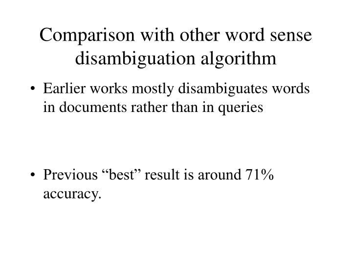 Comparison with other word sense disambiguation algorithm