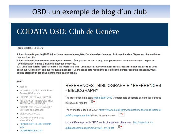 O3D : un exemple de blog d'un club
