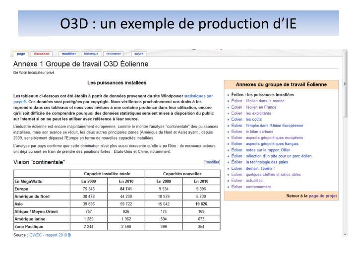 O3D : un exemple de production d'IE
