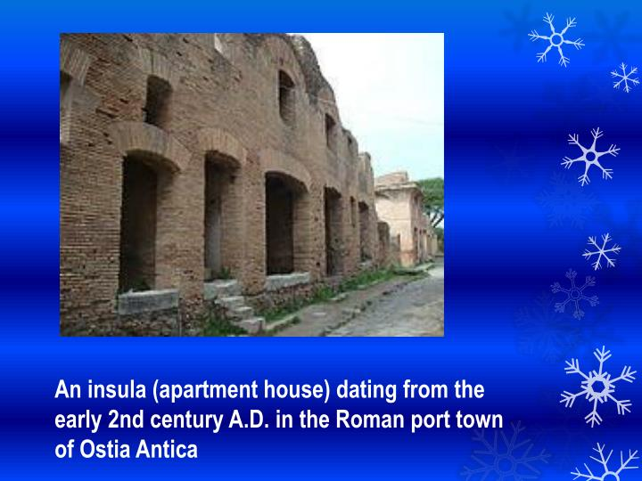 An insula (apartment house) dating from the early 2nd century A.D. in the Roman port town of Ostia Antica