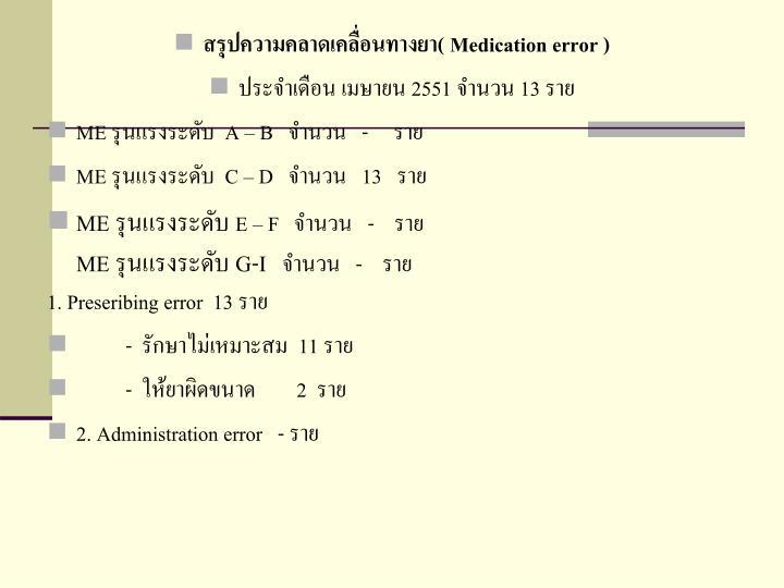 สรุปความคลาดเคลื่อนทางยา(