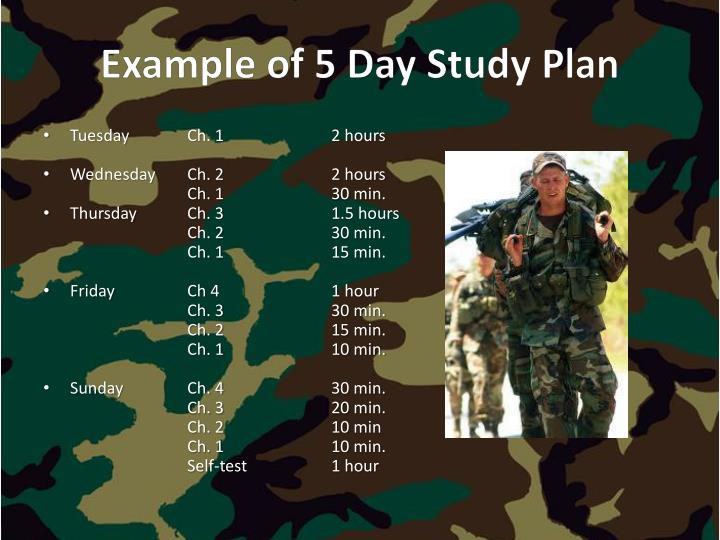 Example of 5 Day Study Plan