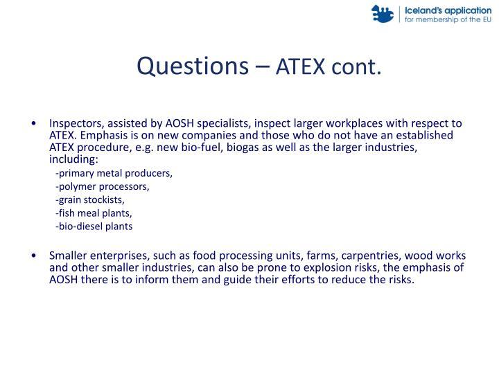 Questions atex cont