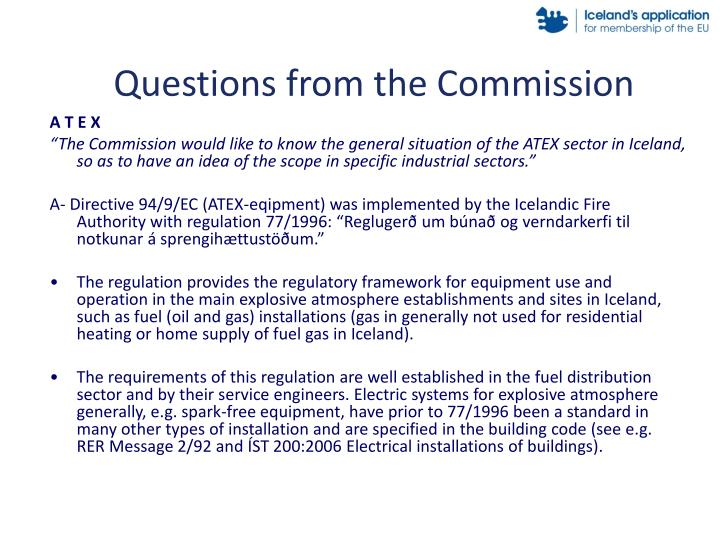 Questions from the commission