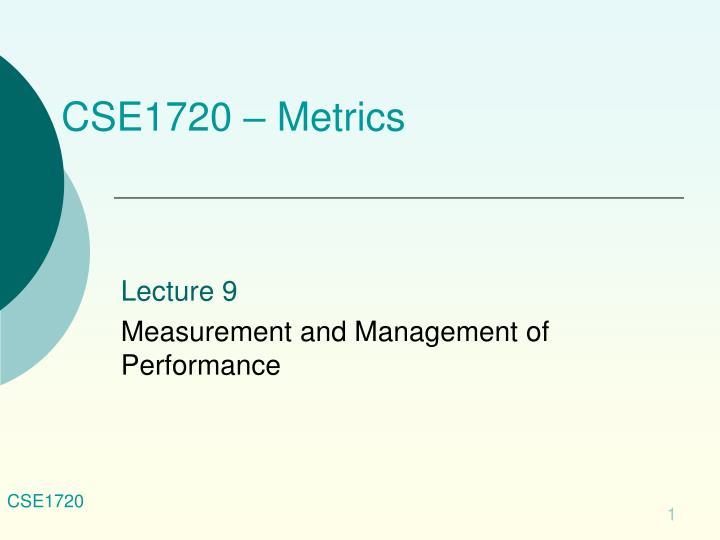cse1720 metrics n.